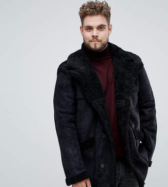 Asos DESIGN Plus faux shearling jacket in black