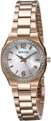 Bulova Women's 98R205 Diamond Gallery Analog Display Japanese Quartz Gold Watch