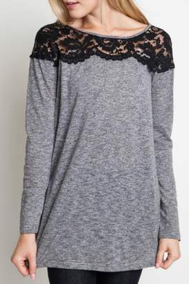 Umgee USA Lace Shoulder Top