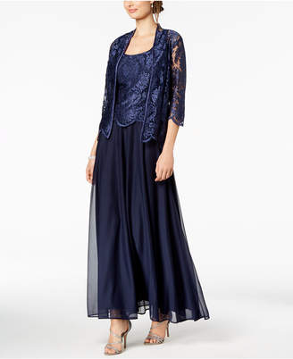 Alex Evenings A-Line Gown & Embroidered Jacket