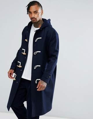 Asos Design Wool Mix Oversized Duffle Coat In Navy