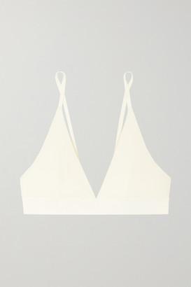Base Range Baserange - Net Sustain Ribbed Organic Stretch-cotton Soft-cup Triangle Bra - Cream