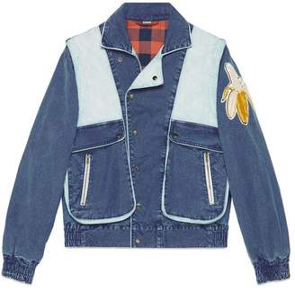 Gucci print washed denim jacket