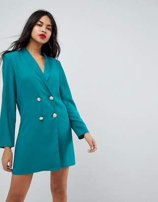Asos Design ULTIMATE Tux Blazer Mini Dress with Pearl Buttons