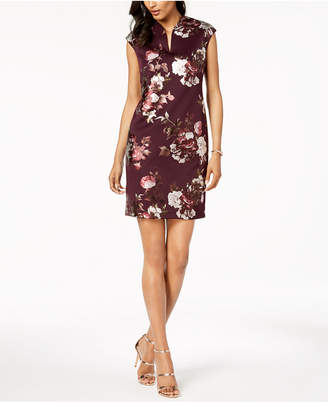 Connected Petite Metallic-Floral Sheath Dress