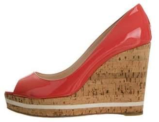Prada Patent Leather Peep-Toe Wedges Patent Leather Peep-Toe Wedges