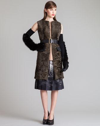 Marni Printed Stitched-Pleat Skirt