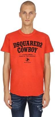 DSQUARED2 Cowboy Print Cotton Jersey T-Shirt