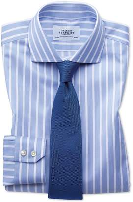 Charles Tyrwhitt Slim Fit Spread Collar Non-Iron Bengal Wide Stripe Sky Blue and White Cotton Dress Shirt Single Cuff Size 15/34