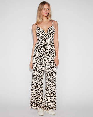Express Leopard Print V-Wire Cami Jumpsuit