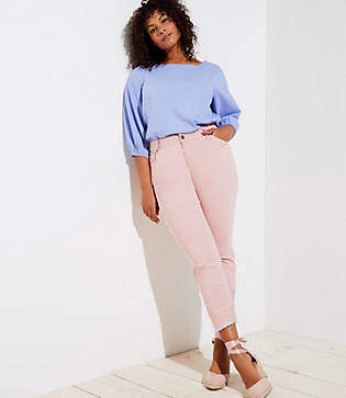 LOFT Plus Skinny Crop Jeans in Railroad Red