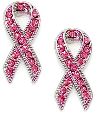 Fresh Crystal Breast Cancer Ribbon Post Earrings