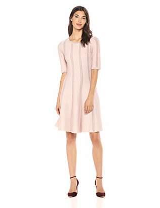 Gabby Skye Women's 3/4 Sleeve Round Neck Sweater A-Line Dress