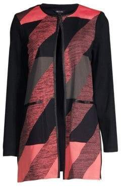 Misook Abstract Longline Cardigan