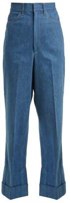 Toga Slit Hem High Rise Wide Leg Jeans - Womens - Blue