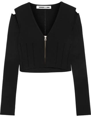 McQ Alexander McQueen - Cropped Cutout Stretch-knit Top - Black $380 thestylecure.com