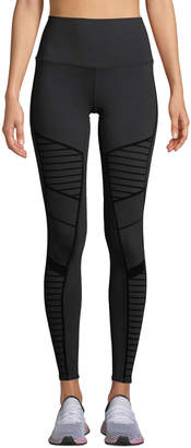 Alo Yoga Flocked High-Waist Moto Leggings