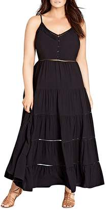 City Chic Plus Festival Ladder-Stitch Trimmed Maxi Dress