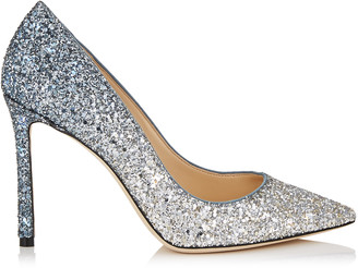 Jimmy Choo ROMY 100 Silver and Dusk Blue Fireball Glitter Degrade Fabric Pointy Toe Pumps