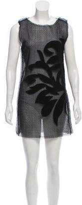 Fendi Leather-Accented Open Knit Dress w/ Tags