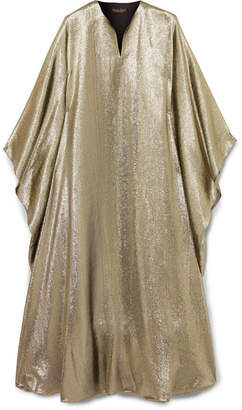Reem Acra - Draped Lamé Midi Dress - Metallic
