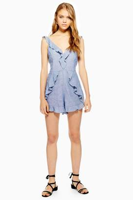a721b4b1cf Topshop Womens Ruffle Playsuit With Linen - Blue