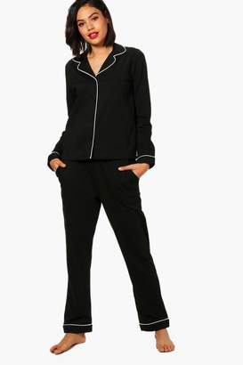 boohoo Jersey Contrast Piping Shirt & Trouser Set