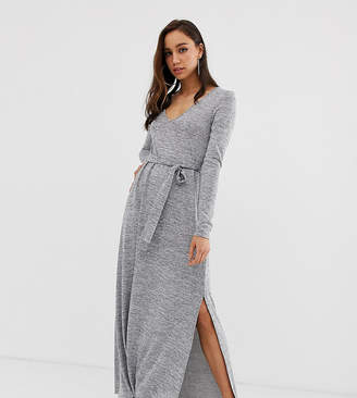 Asos Tall DESIGN Tall v neck belted maxi dress in grey marl