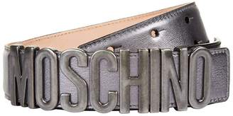 Moschino Metallic Leather Logo Belt