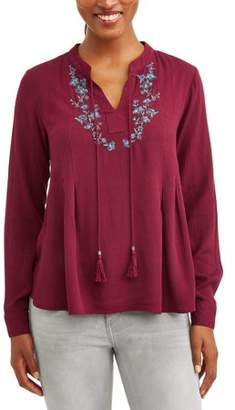 Cherokee Women's Lace up Peasant Top with Embroidery
