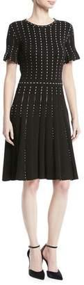 Oscar de la Renta Crewneck Short-Sleeve Pearl-Embroidered Knit Dress