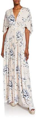 Rachel Pally Plus Size Floral-Print V-Neck Short-Sleeve Long Caftan Dress