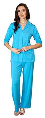 Shadowline Women's Plus-Size Pajama Set-Notched Collar Top and Pj Pants