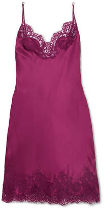 I.D. Sarrieri Colette Chantilly Lace-trimmed Silk-blend Satin Chemise - Plum