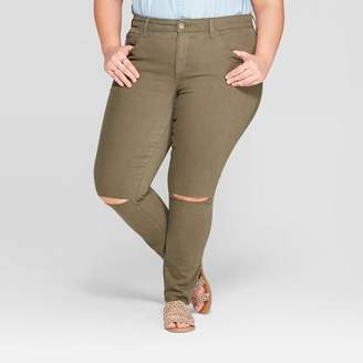 Universal Thread Women's Plus Size Mid-Rise Knee-Slit Jeggings Olive