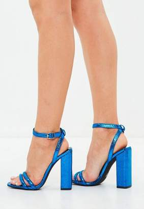 Missguided Metallic Square Block Heeled Sandal