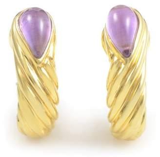 18K Yellow Gold Amethyst Huggie Earrings