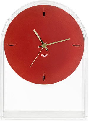 Kartell Transparent Red Lightweight Air Du Temps Clock In Red Thermoplastic By Eugeni Quitllet - Red