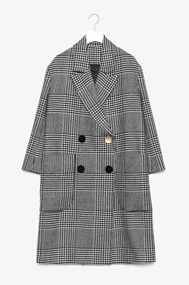 Genuine People Double Breasted Plaid Wool Coat