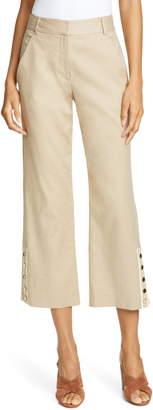 Veronica Beard Martin Crop Linen Blend Pants