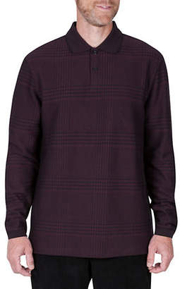 Haggar Long-Sleeve Jacquard Polo Plaid Shirt