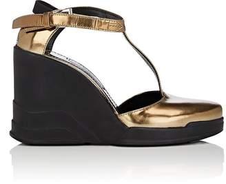Prada WOMEN'S SPECCHIO LEATHER WEDGE MARY JANES
