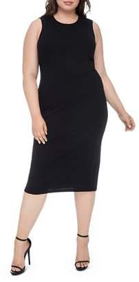 Bobeau B Collection by Curvy Lyla Ribbed Twist-Back Midi Dress