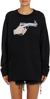 Off-White c/o Virgil Abloh Women's Gun-Graphic Cotton Terry Oversized Sweatshirt $595 thestylecure.com