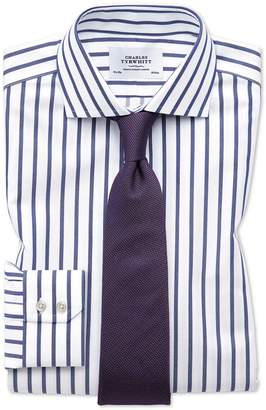Charles Tyrwhitt Slim Fit Spread Collar Non-Iron Bengal Wide Stripe White and Blue Cotton Dress Shirt Single Cuff Size 16/33