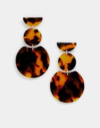 Accessorize (アクセサライズ) - Accessorize brown tortoiseshell three drop earrings