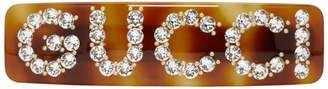 Gucci Tortoiseshell Crystal Logo Barette