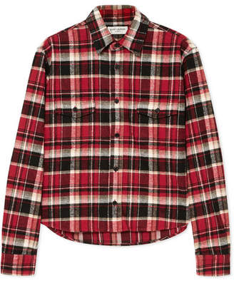 Saint Laurent Cropped Checked Cotton-flannel Shirt - Red