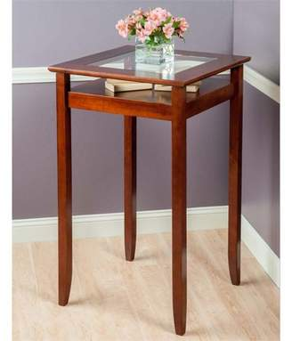 Winsome Wood Halo Pub Table with Glass Inset and Shelf, Walnut