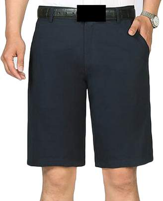 Etecredpow Mens Big and Tall Pure Color Cotton Shorts Flat-Front Summer Casual Short Black+ 2XL